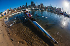 Práctica del agua de Fours del Regatta del Rowing Imagen de archivo