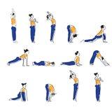 Práctica del asana de la yoga con símbolo de OM en el ejemplo del vector del loto Imágenes de archivo libres de regalías