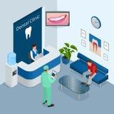 Práctica dental moderna isométrica Silla dental y otros accesorios usados por los dentistas en el azul, médico, recepción, detall Fotografía de archivo libre de regalías