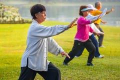 Práctica Tai Chi Chuan de la gente en un parque Fotografía de archivo