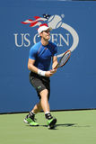 Prácticas de Andy Murray del campeón del Grand Slam para el US Open 2015 Foto de archivo libre de regalías