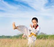 Prática asiática taekwondo do menino Imagem de Stock
