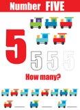 Prática da escrita Aprendendo a matemática e os números Número cinco Jogo educacional das crianças, folha imprimível para criança ilustração stock