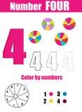 Prática da escrita Aprendendo a matemática e os números Número quatro Jogo educacional das crianças, folha imprimível para crianç ilustração do vetor