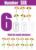 Prática da escrita Aprendendo a matemática e os números Número seis Jogo educacional das crianças, folha imprimível para crianças ilustração royalty free