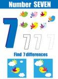 Prática da escrita Aprendendo a matemática e os números Número sete Jogo educacional das crianças, folha imprimível para crianças ilustração do vetor