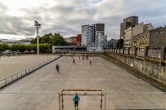 Prática do futebol em Vigo - Espanha fotografia de stock royalty free