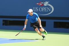 Práticas de Andy Murray do campeão do grand slam para o US Open 2015 Imagem de Stock