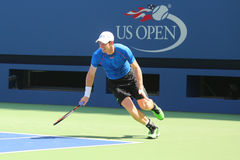 Práticas de Andy Murray do campeão do grand slam para o US Open 2015 Imagem de Stock