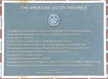 Präambel der amerikanischen Legion der Vereinigten Staaten Lizenzfreie Stockbilder