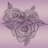 Prägeartige Rose Artwork Handgezogener Entwurf für sehr kreative Grafiken lizenzfreie abbildung