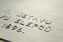 Prägeartiges Schreiben für Blinde Lizenzfreies Stockfoto