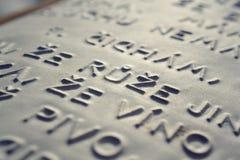 Prägeartiges Schreiben für Blinde Stockfoto