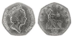 Prägen abgetragene fünfzig Pennys mit Königin Elizabeth II lizenzfreies stockfoto