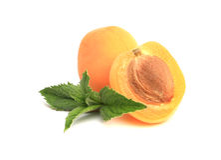 Prägen Sie, die Aprikose, die zur Hälfte auf Weiß geschnitten wird Stockfoto