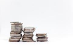 Prägen Sie, thailändische Währung im Hintergrund und lokalisierte Lizenzfreie Stockfotografie