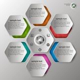 Präglad infographics i 6 moment Arkivfoton