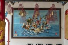 Präglad målning, Cantonese aula i Hoi An royaltyfri foto