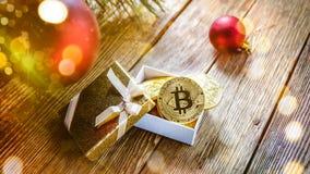 Prägt bitcoin unter der Niederlassung eines Weihnachtsbaums, auf dem Brett Lizenzfreie Stockfotos