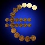 Prägt Eurosymbol Lizenzfreie Stockbilder