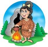 Prähistorische Frau der Karikatur vor Höhle Lizenzfreies Stockfoto