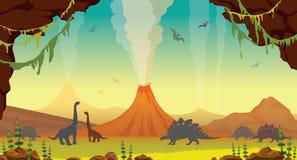 Prähistorische Landschaft mit Höhle, Dinosauriern und Vulkanen Stockbilder
