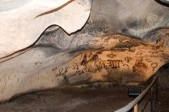 Prähistorische Schreiben in der Höhle Magura, Bulgarien stockfoto