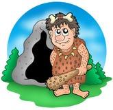 Prähistorischer Mann der Karikatur vor Höhle vektor abbildung