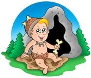 Prähistorisches Schätzchen der Karikatur vor Höhle Lizenzfreie Stockfotos