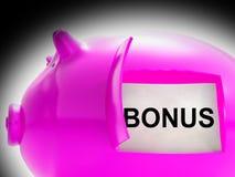 Prämien-Sparschwein prägt Durchschnitt-Vergünstigung oder Nutzen lizenzfreie abbildung