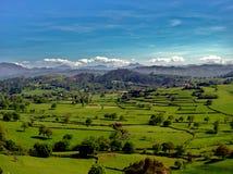 Prärienord av Spanien med Picos de Europa i bakgrunden royaltyfria bilder