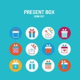 Präsentkartonikone gesetztes Geschenk für Weihnachtsgeburtstags-St.-Valentinstag Lizenzfreie Stockbilder