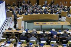 Präsident Barack Obama bewirtete einen Gipfel der Führer auf der globalen Flüchtlings-Krise auf den Rändern von UNGA 71 Lizenzfreies Stockfoto