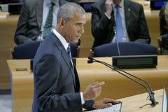 Präsident Barack Obama bewirtete einen Gipfel der Führer auf der globalen Flüchtlings-Krise auf den Rändern von UNGA 71 Lizenzfreies Stockbild