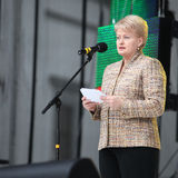Präsident der Republik von Litauen Dalia Grybauskaite macht Rede Lizenzfreie Stockfotos