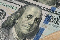 Präsident Franklin von 100 Dollar Stockbild