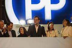 Präsident Mariano Rajoy und die Rede der Minister, die Wahlergebnisse feiert Stockbilder