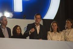 Präsident Mariano Rajoy und die Rede der Minister, die Wahlergebnisse feiert Lizenzfreie Stockfotos