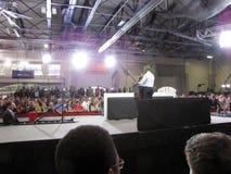 Präsident Obama gibt eine Rede Stockbild