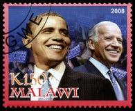 Präsident Obama und Joe Biden Postage Stamp von Malawi stockfotos
