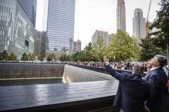 Präsident Petro Poroshenko an World Trade Center-Bodennullpunkt mem Lizenzfreie Stockfotos