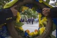 Präsident Petro Poroshenko an World Trade Center-Bodennullpunkt mem Lizenzfreies Stockbild