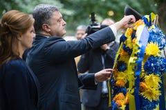 Präsident Petro Poroshenko an World Trade Center-Bodennullpunkt mem Lizenzfreies Stockfoto