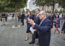 Präsident Petro Poroshenko an World Trade Center-Bodennullpunkt mem Lizenzfreie Stockbilder