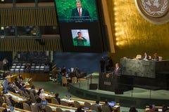 Präsident von Ukraine Petro Poroshenko an UNO Generalversammlung Lizenzfreies Stockfoto