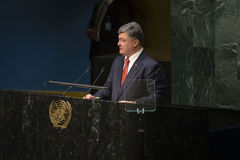 Präsident von Ukraine Petro Poroshenko an UNO Generalversammlung Lizenzfreie Stockbilder