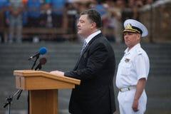 Präsident von Ukraine Petro Poroshenko während der Feier von Stockfotografie