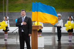 Präsident von Ukraine Petro Poroshenko während der Feier von Stockbilder