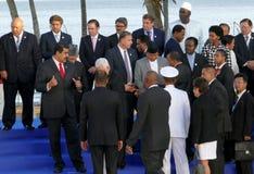 Präsidenten von Delegationen werfen für die offizielle Fotografie im 17. Gipfel der Nicht-ausgerichteten Bewegung auf Stockbilder