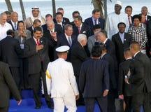 Präsidenten von Delegationen werfen für die offizielle Fotografie im 17. Gipfel der Nicht-ausgerichteten Bewegung auf Stockbild